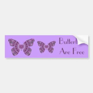 Butterflies are Free, purple fractal butterflies Bumper Sticker