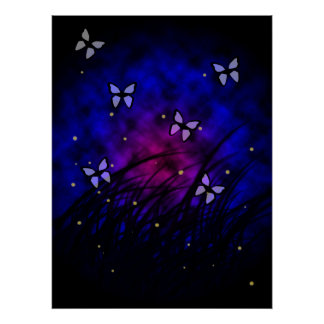Butterflies at Night Poster