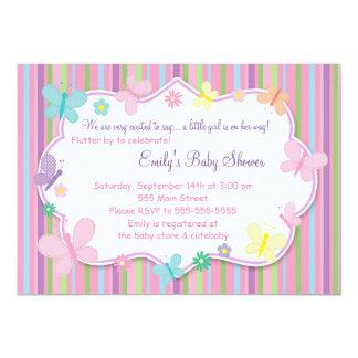 Butterflies Baby Girl Shower Invitation
