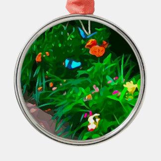 Butterflies Blue Digitized Metal Ornament