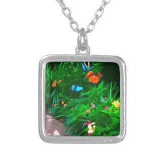 Butterflies Blue Digitized Silver Plated Necklace