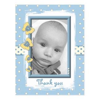Butterflies Blue Thank you Baby Boy Photo Postcard