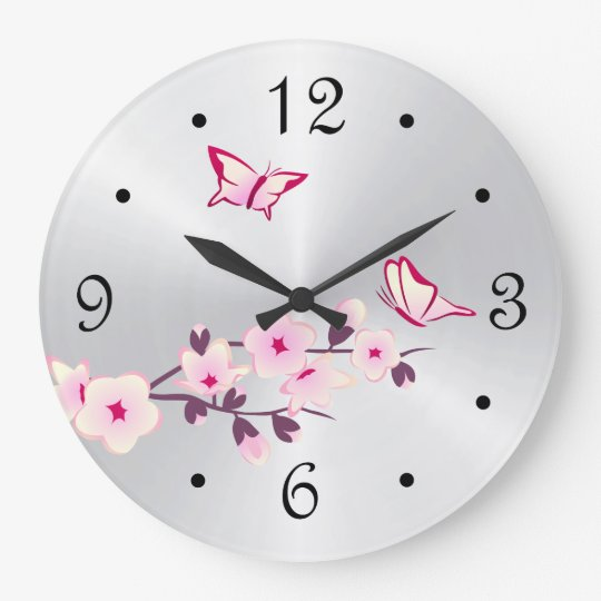 Butterflies Cherry Blossoms Silver Clock
