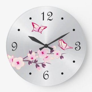 Butterflies Cherry Blossoms Silver Large Clock