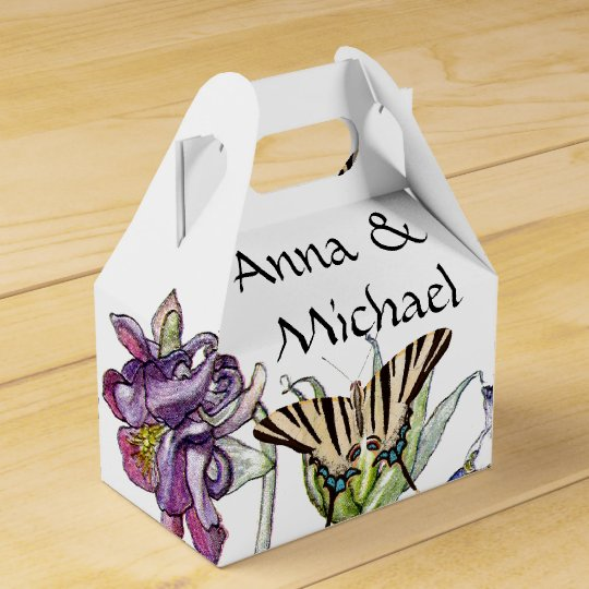 Butterflies Columbine Flowers Couple Favour Box