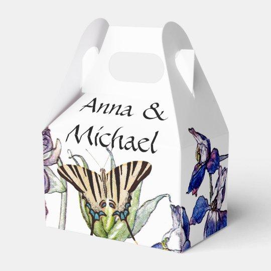 Butterflies Columbine Flowers Couple Favour Box Wedding Favor Box