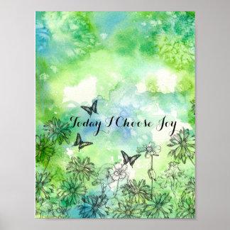 Butterflies Daisy Today I Choose Joy Inspirational Poster