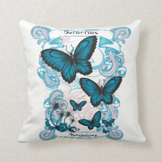 Butterflies & Dandelions Girls Graphic Throw Pillo Throw Pillow