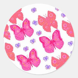 butterflies dig2.jpg round sticker