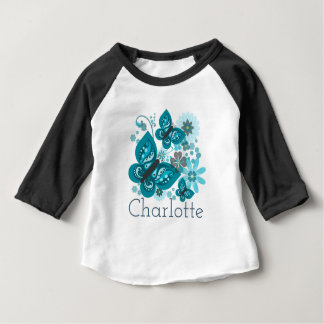 Butterflies & Flowers (blue) Long-Sleeved Baby Top
