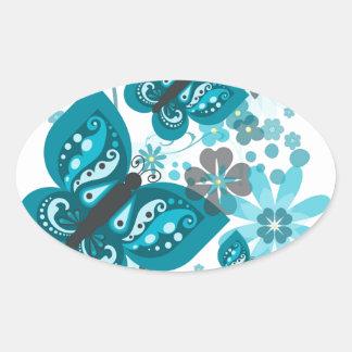Butterflies & Flowers (blue) Oval Stickers