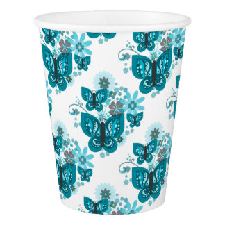 Butterflies & Flowers (blue) Paper Cup
