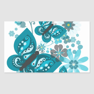 Butterflies & Flowers (blue) Rectangular Stickers