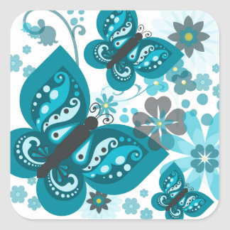 Butterflies & Flowers (blue) Square Stickers