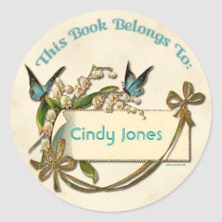 Butterflies Flowers Bookplate Sticker