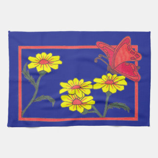 Butterflies & Flowers II Tea Towel