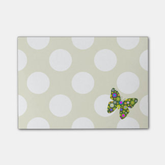 Butterflies, Flowers, Petals - Green Pink Yellow Post-it Notes