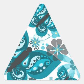 Butterflies & Flowers Triangular Stickers (Blue)