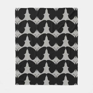 Butterflies Fly Free -Black-Gray-Fleece_Blanket-M Fleece Blanket