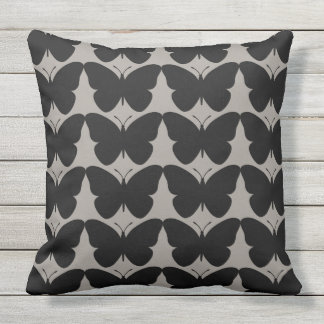 Butterflies-Fly-Free_Black-Gray-HOME-DECOR Throw Pillow