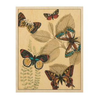 Butterflies Gliding Over Leaves Wood Wall Decor