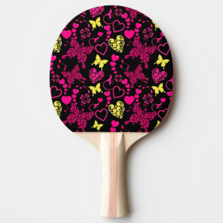 Butterflies, Hearts and Music Notes Ping Pong Paddle