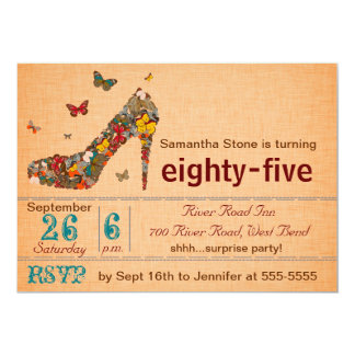 Butterflies High Heel 85th Birthday Invite