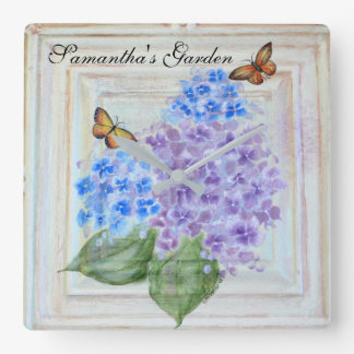 Butterflies & Hydrangeas Garden Art Wall Clock