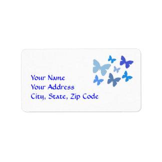 Butterflies in blue address label