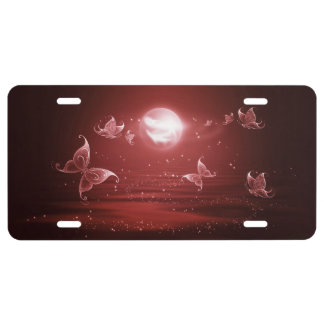 Butterflies in Crimson Moonlight License Plate