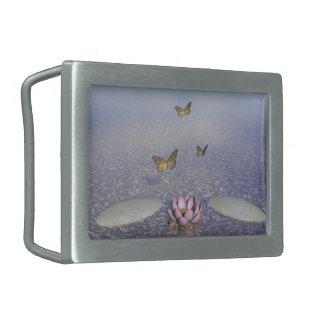 Butterflies in flight in a Zen landscape Belt Buckle