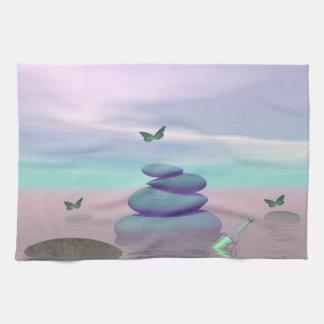 Butterflies in flight in a Zen landscape Hand Towels