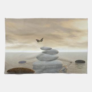 Butterflies in flight in a Zen landscape Kitchen Towels