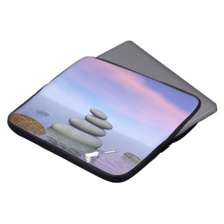 Butterflies in flight in a Zen landscape Laptop Sleeve
