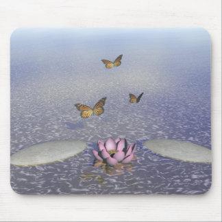 Butterflies in flight in a Zen landscape Mouse Pad