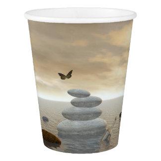 Butterflies in flight in a Zen landscape Paper Cup