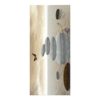 Butterflies in flight in a Zen landscape Rack Card