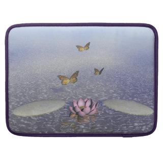 Butterflies in flight in a Zen landscape Sleeve For MacBook Pro