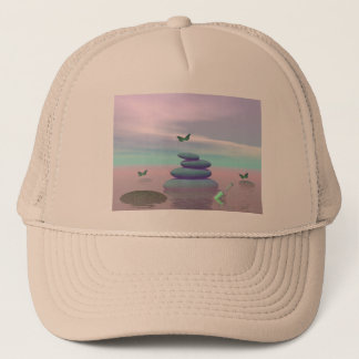 Butterflies in flight in a Zen landscape Trucker Hat