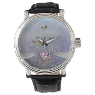 Butterflies in flight in a Zen landscape Watch