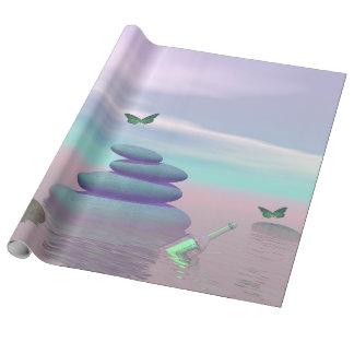 Butterflies in flight in a Zen landscape Wrapping Paper