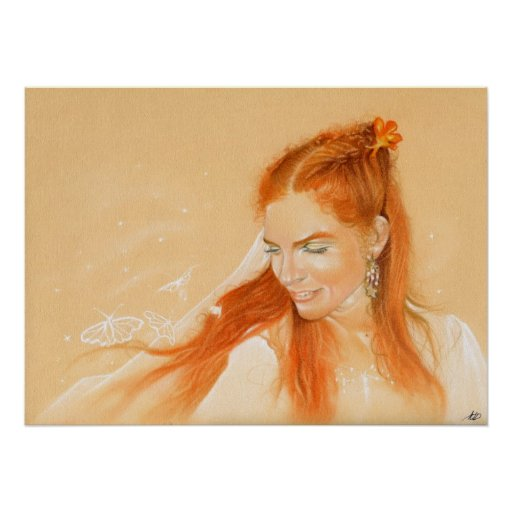 Butterflies in her Hair Fantasy art Poster