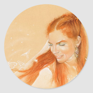 Butterflies in her Hair Fantasy Art Sticker