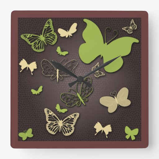 Butterflies in Warm Earth Tones Wall Clock Square Wallclocks