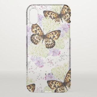 Butterflies Lilas Floral Custom Initials iPhone X Case