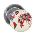 Butterflies Map of the World Map 2 Inch Round Button