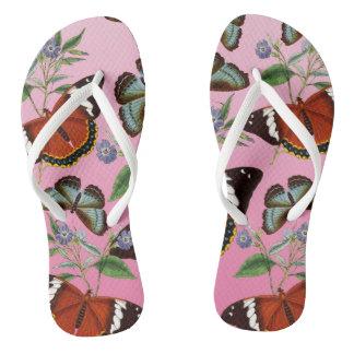 butterflies mix pink flip flops