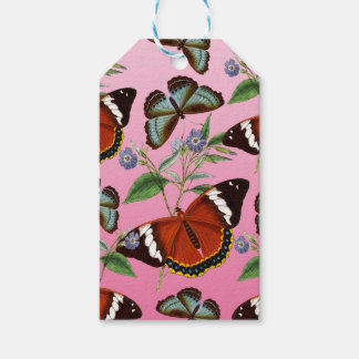 butterflies mix pink gift tags