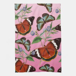 butterflies mix pink kitchen towel