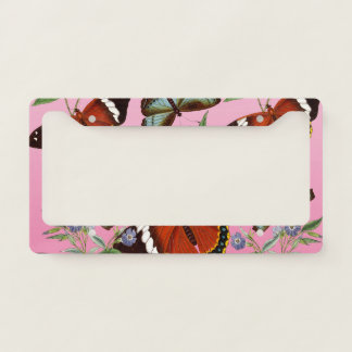 butterflies mix pink license plate frame